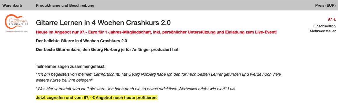 Angebot Georg Norberg