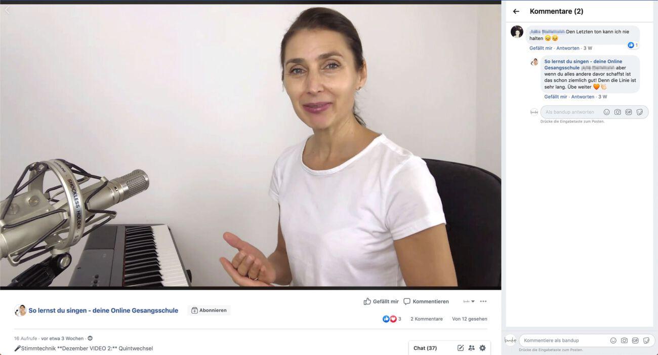 Vocalcoaching in der Gruppe von Andrea