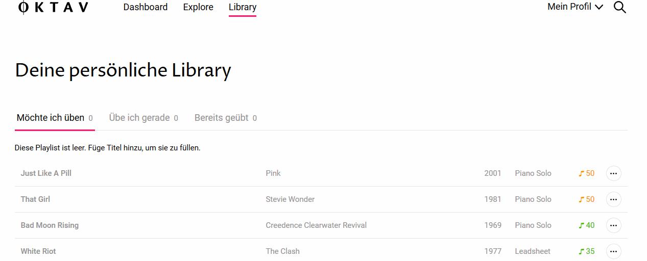 Oktav Erfahrung: Library