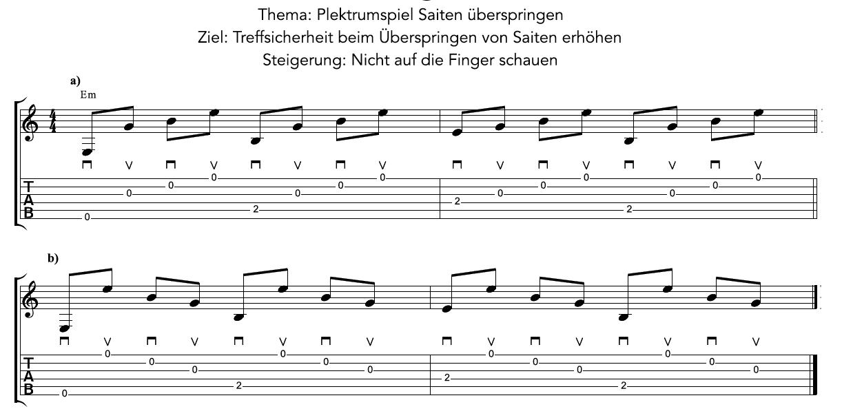 fingerübung gitarre Plektrumspiel